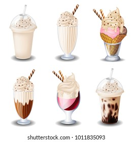 Set of ice cream, milk shake. On white background