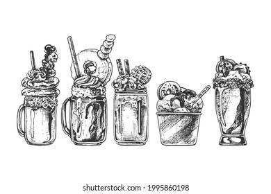 set of ice cream, milkshake with decoration, sweet dessert in different dishes, glass, paper, bowl, jar, vintage black and white drawing, graphics, isolated vector objects