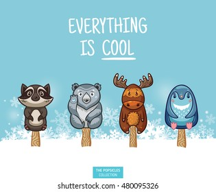 Set of ice cream on a stick. Cute animal popsicles collection with raccoon, polar bear, moose and penguin in the snow. Everything is cool