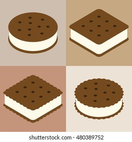 Set of ice cream sandwich cookie collection
