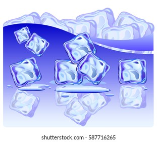 Set of ice cubes on glossy surface with water drops. Vector illustration