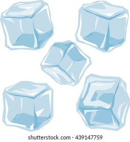 Set of ice cubes. Origami style vector illustration.