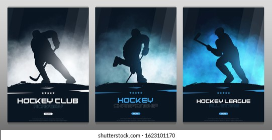 Set of Ice Hockey posters with players and Stick