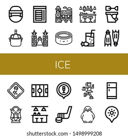 Set of ice icons such as Hockey helmet, Ice bucket, Chamber, Ice of siam, Mimosa, Puck, Bar, Cocktail, Sand bucket, Flippers, Slippery road, Crystal, Hockey pitch, Hockey stick ,