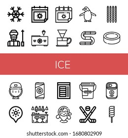 Set of ice icons. Such as Snowflake, Ski, Summer, Freezer, Dripper, Penguin, Gummy, Sticks, Puck, Skater, Holidays, Cold coffee, Bar, Chamber, Beach, Bucket, Hockey stick , ice icons