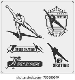 Set of ice skating labels, emblems and design elements. Vector illustration.