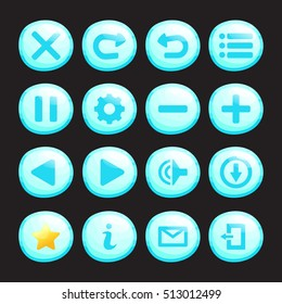 Set of ice or water round icons isolated on black background for game. Mobile app vector elements template.