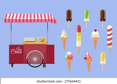 Set of ice-cream icons. Vector illustration.