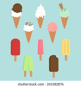 Set of ice-creams and popsicles.