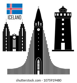 Set with Iceland landmarks in flat style. Vector illustration