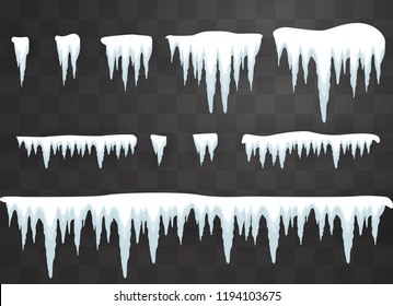 Set of icicles on a transparent background. Winter icicles with snow on a transparent background.