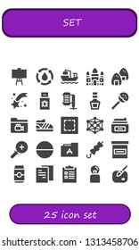 set icon set. 25 filled set icons.  Simple modern icons about  - Canvas, Water, Cargo ship, Angkor wat, Onigiri, Shooting star, Usb, Compressor, Whiskey, Lollipop, Folder, Shoe