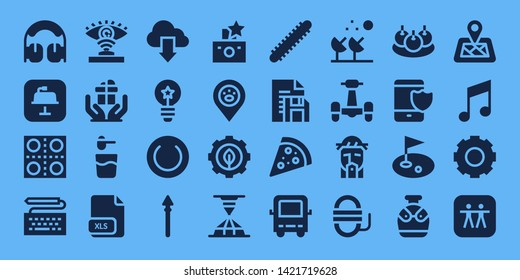 set icon set. 32 filled set icons. on blue background style Collection Of - Headphones, Keynote, Pills, Keyboard, Eye scan, Gift, Powder, Xls, Cloud, Idea, Plate, Spear, Flash