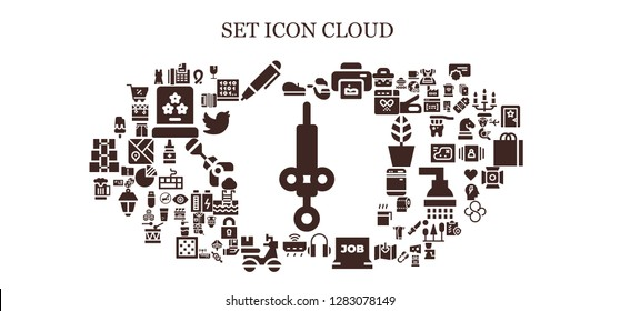 set icon set. 93 filled set icons. Simple modern icons about  - Syringe, Beret, Fax, Pen, Pipe, Print, Headphones, Job search, Router, Delivery, Beer, Ice cream, Ribbon, Fragile