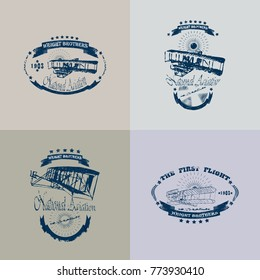 Set of an icon of aviation badge in retro style isolated on vintage background