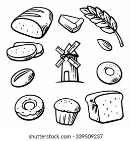 Set icon for bakery. Engraving vintage vector black illustration. Isolated on white background. Hand drawn design element for label and poster