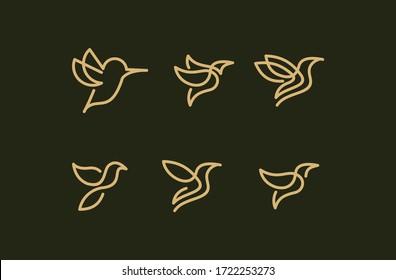 set icon bird line art logo vector