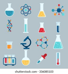 Set icon chemicals, chemistry, laboratory, jars, beakers, flasks, elements of the molecule. Vector illustration