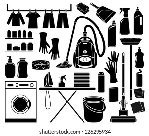 Set of icon cleaning. vector