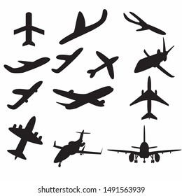 A set or icon collection of black planes drawings on a beige background.A group or collection of aircrafts ideal for grungy,travel,flight,transport,business or commercial designs isolated on white