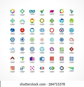 Set of icon design elements. Abstract ideas for business company. Finance, communication, eco, technology, science and medical concepts. Logo for corporate identity template. Vector logotypes