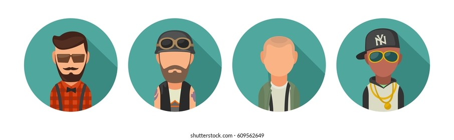 Set icon different subcultures people. Hipster, biker, skinhead, rapper. Vector flat illustration on turquoise circle.