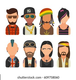 Set icon different subcultures people. Hipster, raper, emo, rastafarian, punk, biker, goth, hippie. Vector flat illustration on white background