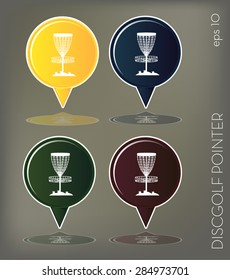 Set of icon, disc golf pointer (vector)