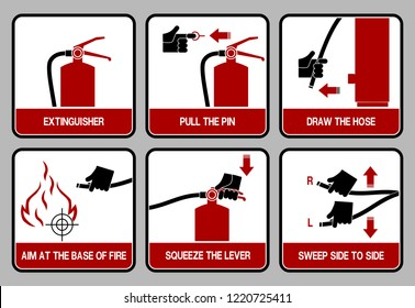 set of icon for extinguisher user guide