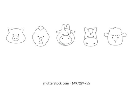 Set of icon farm animals, face of pig, rooster, cow, horse, sheep, outline