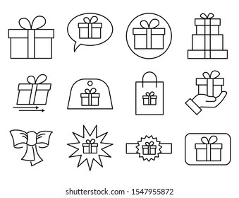 set icon of gift related vector design, included as gift, gift in bag, symbol, ribbon, bubble gift.