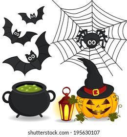 set of  icon Halloween - vector illustration eps