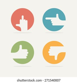 Set Icon hand gestures: thumb up, good, bad, left. Vector illustration.