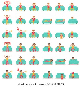 Set icon hipster man with fashion hairstyle in different poses on couch in room flat style. Bundle vector logo character on sofa in cartoon style illustration.