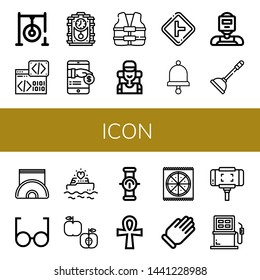 Set of icon icons such as Darts target, Binary code, Cuckoo clock, Payment, Life vest, Climber, Intersection, Bell, Welder, Plunger, Napkin holder, Glasses, Yatch, Apple , icon