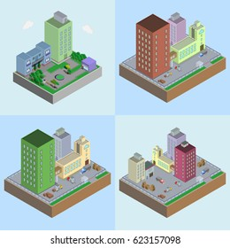 Set icon of isometric vector image of a company.
