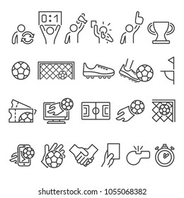 Set icon line football stuff