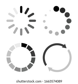 Set icon and loading symbol. isolated on white background. download and refresh. vector illustration flat design.