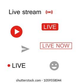 Set icon, logo and inscription for live stream. Vector design elements.