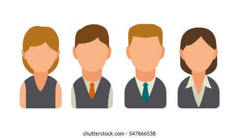 Set icon male and female faces for business avatars. Vector flat illustration on white background.