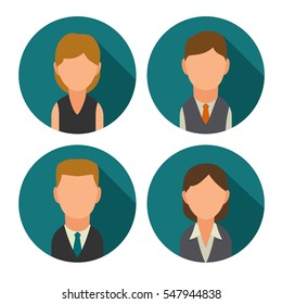 Set icon male and female faces for business avatars. Vector flat illustration on turquoise circle.