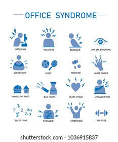 Set Icon of office syndrome.Vector Icon Illustration design.Healthcare and business concept.