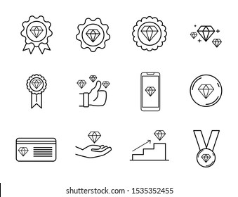 set icon of outline diamond, included icon as member, Exclusive, badge, high level, diamond with hands and more.