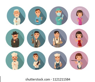 Set icon people different professions. Doctor, cook man, chef, waitress, mafia don, gangster, prostitute. Vector flat icon with shadow on color circle