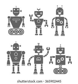Set icon retro robots