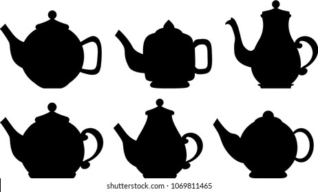 Set  icon silhouette kettles, teapots, coffee pot. Abstract design logo. Logotype art - vector