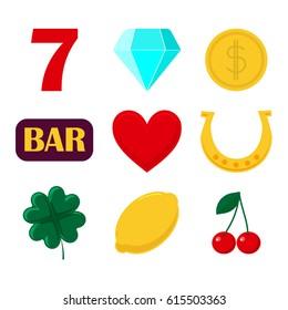 set of icon slot machine. Sign casino and gambing.