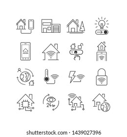 Set of icon is smart home. Future technology and innovation. Editable stroke, Vector eps10.