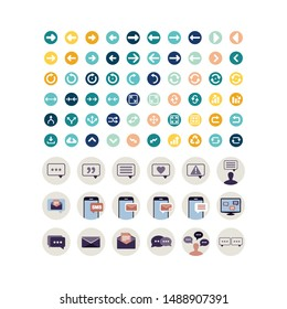 set icon social media and traffic signs vector template
