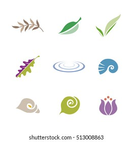 Set of icon symbols for logo design (leaf, shell, flower and ripple)